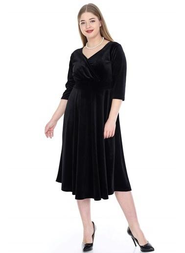 Angelino Butik Büyük Beden Kadife Elbise KL8003ka Siyah